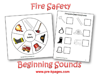 Fire Safety Beginning Sounds Activity via www.pre-kpages.com