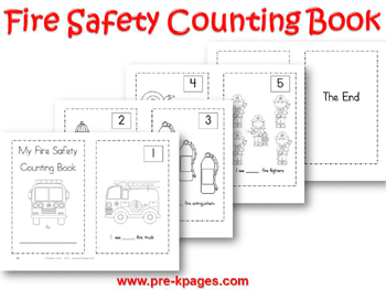 Printable Fire Safety Counting Book for #preschool