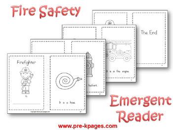 Fire Safety Printable Emergent Reader via www.pre-kpages.com