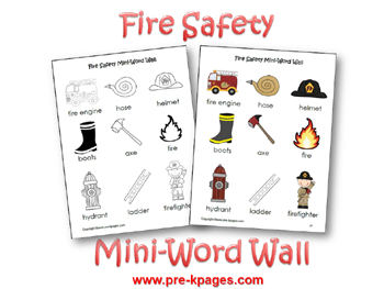 Fire Safety Printable Mini Word Walls via www.pre-kpages.com