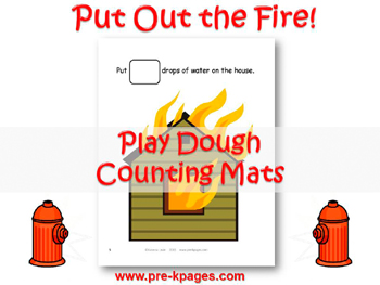 Fire Safety Play Dough Counting Mats for #preschool