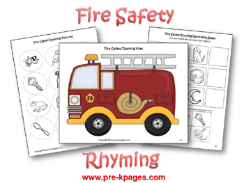 Fire Safety Rhyming Activity via www.pre-kpages.com