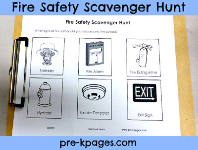 Free printable fire safety scavenger hunt activity via www.pre-kpages.com