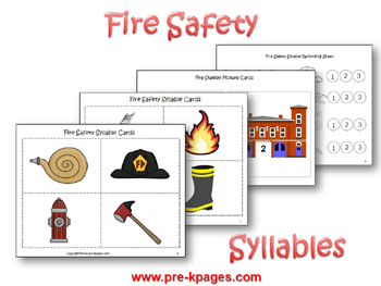 Fire Safety Syllable Activity via www.pre-kpages.com