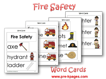 Fire Safety Word Cards via www.pre-kpages.com