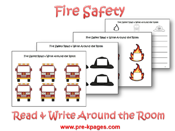 Fire Safety Read and Write around the Room Activity via www.pre-kpages.com