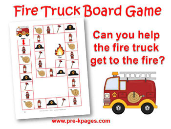 Printable Fire Truck Board Game for #preschool
