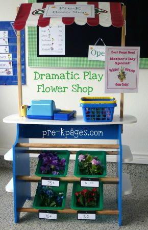 dramatic play flower shop stand in preschool