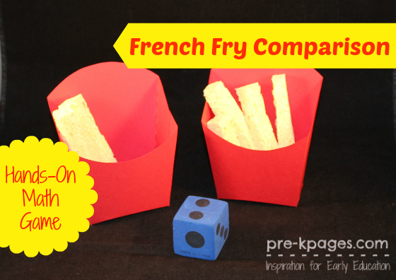 French Fry Comparison Game for pre-k and kindergarten