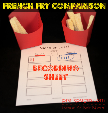 Free Printable French Fry Comparison Recording Sheet for pre-k and kindergarten