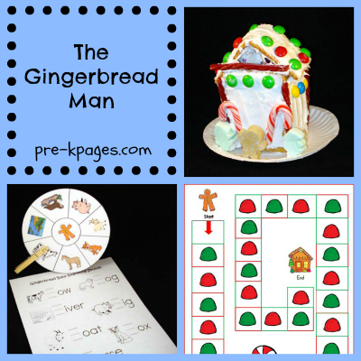 Gingerbread Man Literacy and Math ideas for Preschool and Kindergarten via www.pre-kpages.com
