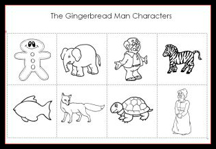image about The Gingerbread Man Story Printable called Gingerbread Guy Figures Printable Preschool
