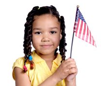 girl holding flag