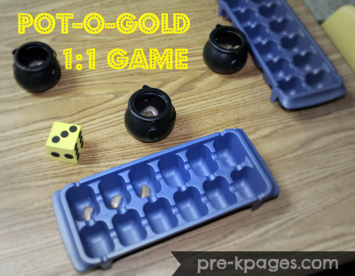Pot of Gold Lima Bean One to One Game for Preschool and Kindergarten via www.pre-kpages.com