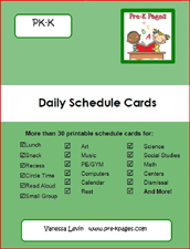 Green daily picture schedule cards printable packet for preschool and kindergarten via www.pre-kpages.com