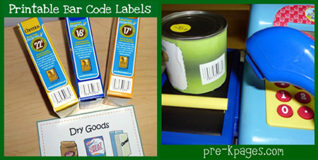 printable bar code labels for dramatic play grocery store