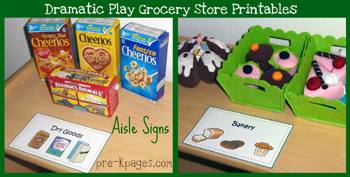 grocery store dramatic play aisle signs