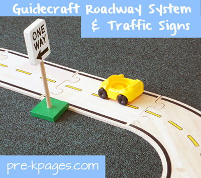 Guidecraft Roadway System and Block Play Signs via www.pre-kpages.com