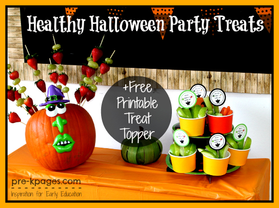 Healthy Halloween Party Treats + Free Printable Treat Topper