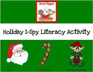 Free Holiday I-Spy Beginning Sounds Printable via www.pre-kpages.com