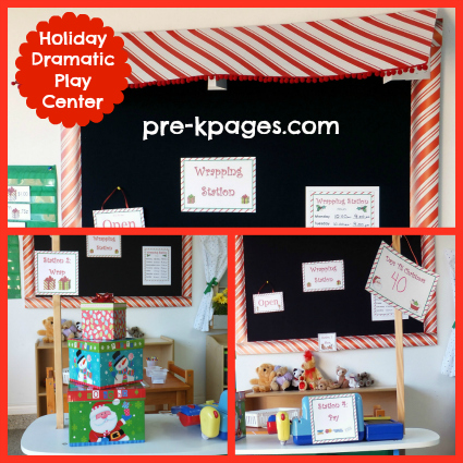 Holiday Dramatic Play Center Wrapping Station for Pre-K and Kindergarten via www.pre-kpages.com