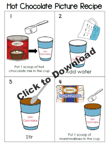 Free Printable Hot Cocoa Picture Sequence Recipe for Preschool and Kindergarten