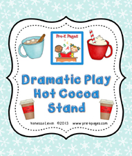 Dramatic Play Hot Cocoa Stand Printable Kit for Preschool and Kindergarten via www.pre-kpages.com