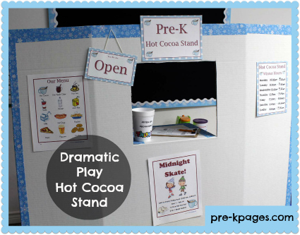 Hot Cocoa Dramatic Play Kit Printables for Winter via www.pre-kpages.com