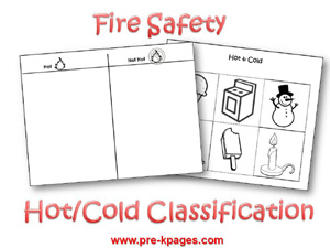 Free printable hot cold classification activity via www.pre-kpages.com