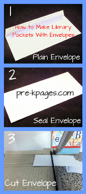 How to make library pockets with envelopes via www.pre-kpages.com