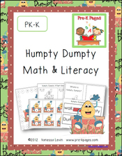 Printable Humpty Dumpty Literacy and Math Activities for Pre-K and Kindergarten via www.pre-kpages.com