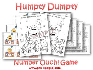 Humpty Dumpty Printable Math Activities for Pre-K and Kindergarten via www.pre-kpages.com