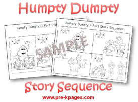 Humpty Dumpty Printable Literacy Activities for Pre-K and Kindergarten via www.pre-kpages.com
