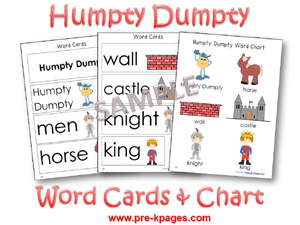 graphic relating to Printable Word Wall Cards With Pictures titled Humpty Dumpty Nursery Rhyme Topic within just Preschool