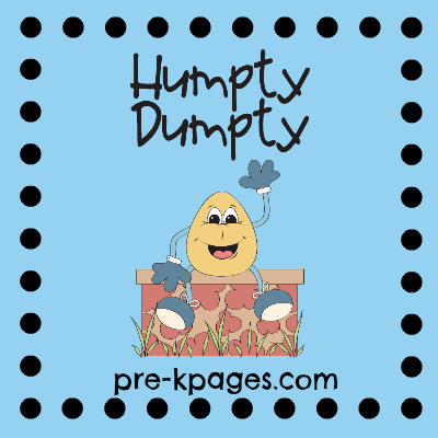 Humpty Dumpty Nursery Rhyme printables and activities via www.pre-kpages.com