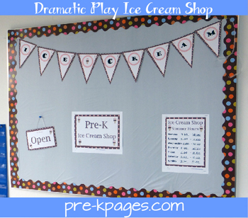 dramatic play ice cream shop banner