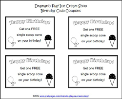 dramatic play ice cream coupons