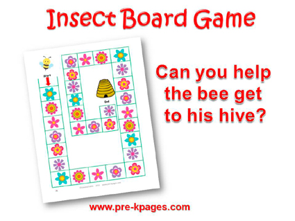Printable Insect Board Game For Preschool And Kindergarten