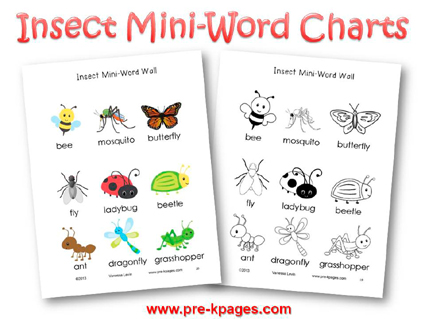 Printable Insect Mini Word Charts for #preschool and #kindergarten