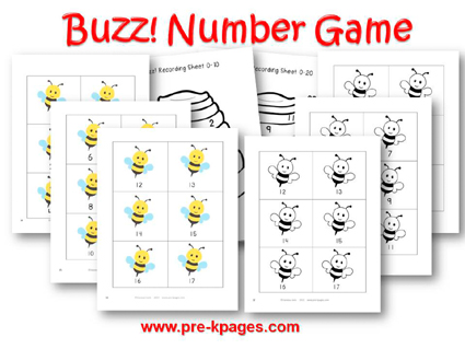 Buzz Number Identification Game (0-20) for #preschool and #kindergarten