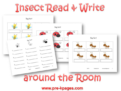 Insect Read and Write around the Room Activity for #preschool and #kindergarten