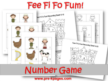 Printable Jack and the Beanstalk Number ID Game for Preschool and Kindergarten