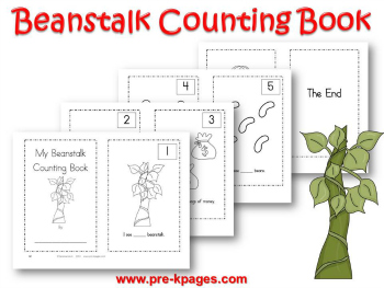 Printable Jack and the Beanstalk Counting 1-5 Book for Preschool