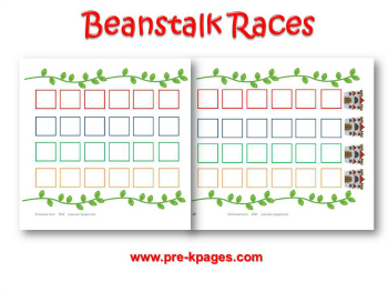 Printable Jack and the Beanstalk Races Game for Preschool and Kindergarten