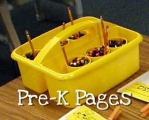 Crayon Caddies for student tables in pre-k or kindergarten via www.pre-kpages.com