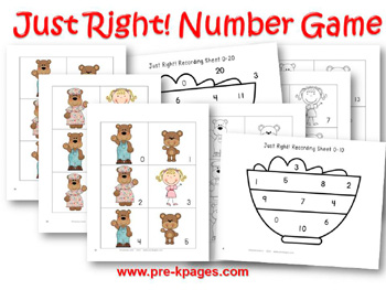 Printable Just Right! Number Identification Game {Goldilocks and the Three Bears}