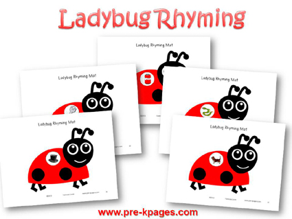 Ladybug Rhyming Game for #preschool and #kindergarten