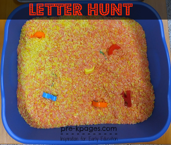 Hunt for Letters in Your Name in Sensory Tub in #preschool and #kindergarten