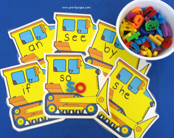 transportation sight word mats