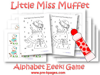 Printable Little Miss Muffet Nursery Rhyme Packet for preschool and kindergarten